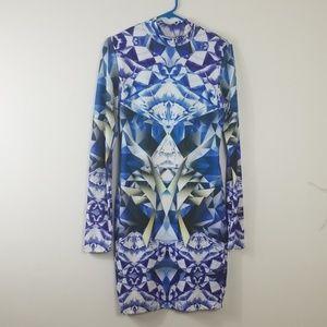 Arden B Midi Dress Blue & White Size L